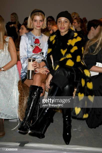 Pixie Geldof and Adwoa Aboah attend the Shrimps show during London Fashion Week February 2019 at Ambika P3 on February 19 2019 in London England