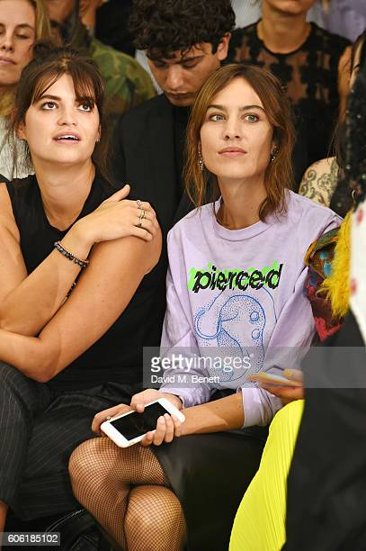 Pixie Geldof and Alexa Chung attend the Ashley Williams runway show during London Fashion Week Spring/Summer collections 2017 on September 16 2016 in...