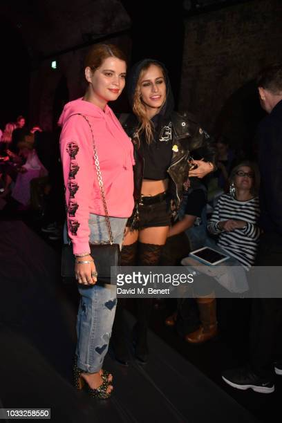 Pixie Geldof and Alice Dellal attend the Ashley Williams front row during London Fashion Week September 2018 at House of Vans on September 14 2018 in...