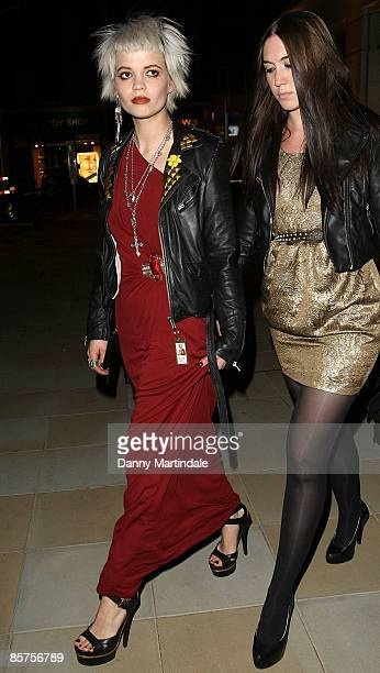 Pixie Geldof and friend attends a dinner in honour of Frida Giannini Gucci's Creative Director hosted by Alexandra Shulman Editor of British Vogue at...