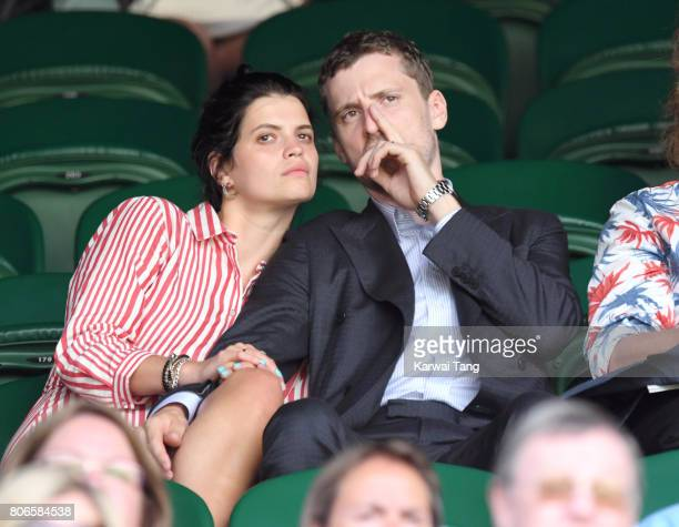 Pixie Geldof and George Barnett attend day one of the Wimbledon Tennis Championships at the All England Lawn Tennis and Croquet Club on July 3 2017...