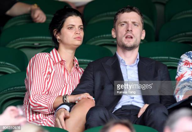 Pixie Geldof and George Barnett attend the opening day of Wimbledon 2017 on July 3 2017 in London England