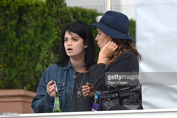 Pixie Geldof and Lliana Bird in the Barclay Card VIP Hospitality Suite as part of the British Summer Time 2015 gigs at Hyde Park on June 18 2015 in...