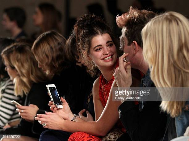 Pixie Geldof and Nick Grimshaw attends the House of Holland show during London Fashion Week Autumn/Winter 2016/17 at on February 20 2016 in London...