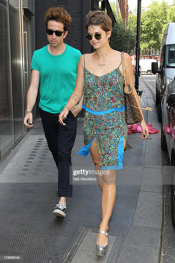 Pixie Geldof and Nick Grimshaw seen arriving at The Ivy Club on July 18, 2013 in London, England.