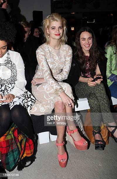 Pixie Geldof and Tallulah Harlech on the front row for Jonathan Saunders at London Fashion Week Autumn/Winter 2012 at Broadgate Tower on February 19...