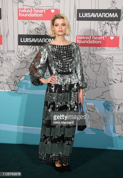 Pixie Geldof arrives at the Fabulous Fund Fair event during London Fashion Week February 2019 at the The Roundhouse on February 18 2019 in London...
