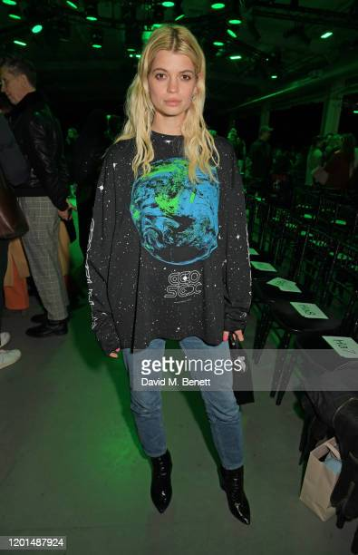 Pixie Geldof attends the Christopher Kane show during London Fashion Week February 2020 at The Mail Centre on February 17, 2020 in London, England.