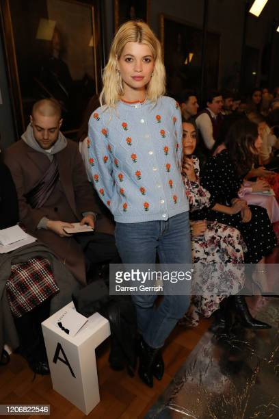 Pixie Geldof attends the Erdem show during London Fashion Week February 2020 on February 17 2020 in London England