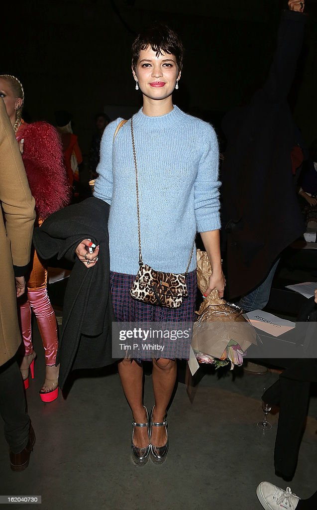 Pixie Geldof attends the Fashion East show during London Fashion Week Fall/Winter 2013/14 at TopShop Show Space on February 18, 2013 in London, England.