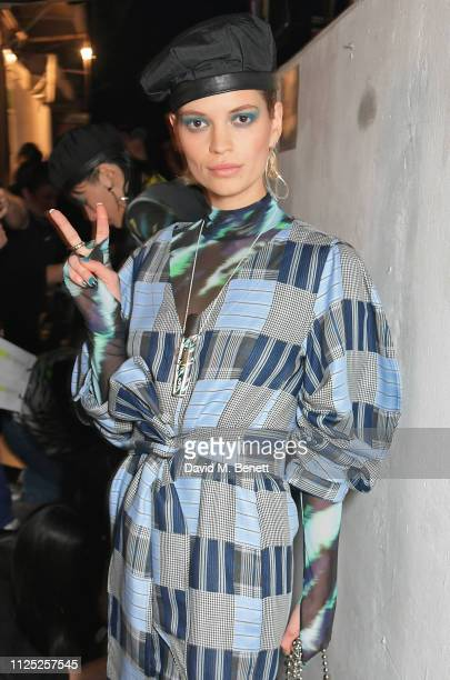 Pixie Geldof attends the House of Holland AW19 London Fashion Week catwalk show, showcasing the limited-edition Vype ePen 3 / vaping pendant created...