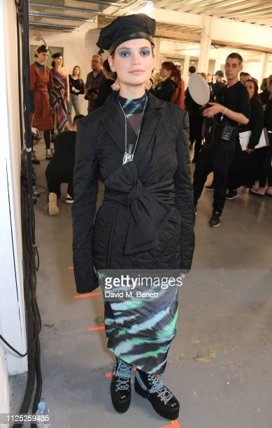 Pixie Geldof attends the House of Holland AW19 London Fashion Week catwalk show showcasing the limitededition Vype ePen 3 / vaping pendant created by...