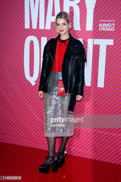 """Pixie Geldof attends the """"Mary Quant"""" VIP preview at the Victoria & Albert Museum on April 03, 2019 in London, England."""