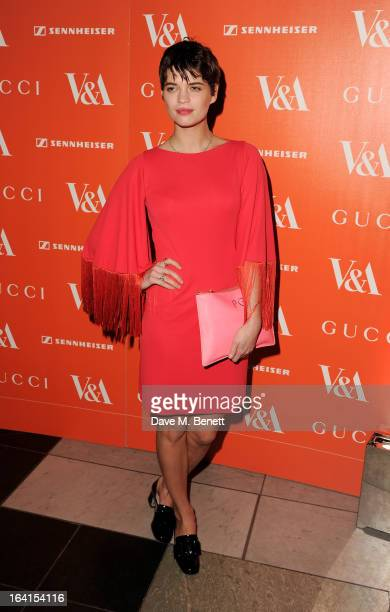 Pixie Geldof attends the private view for the 'David Bowie Is' exhibition in partnership with Gucci and Sennheiser at the Victoria and Albert Museum...