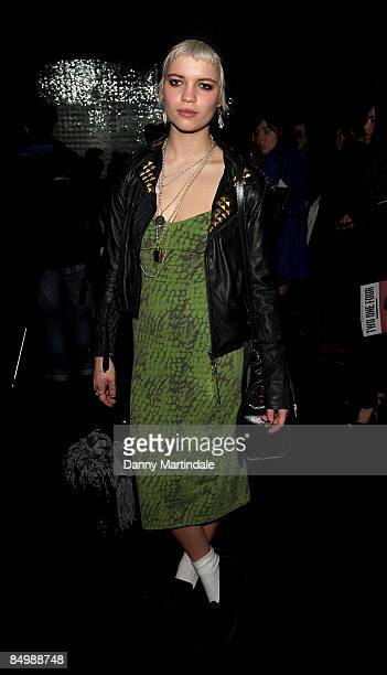 Pixie Geldof attends the Topshop Unique show during London Fashion Week Autumn/Winter 2009 at at University of Westminster on February 21 2009 in...