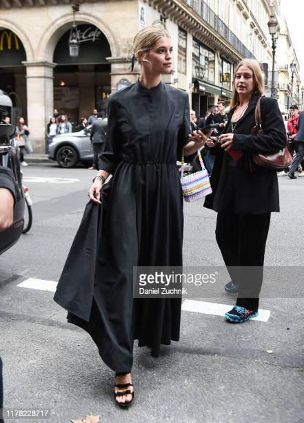 Pixie Geldof is seen wearing a black Giambattista Valli dress outside the Giambattista Valli show during Paris Fashion Week SS20 on September 30 2019...