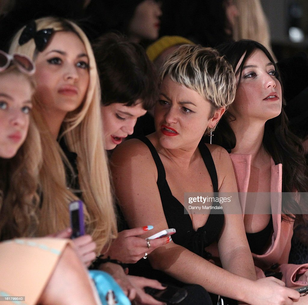 Pixie Geldof, Jaime Winstone and Daisy Lowe attend the Moschino cheap&chic show during London Fashion Week Fall/Winter 2013/14 at The Savoy Hotel on February 16, 2013 in London, England.