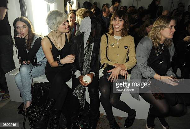 Pixie Geldof Remi Nicole and Alexa Chung back stage at the Topshop Unique show in Covent Garden on February 20 2010 in London England