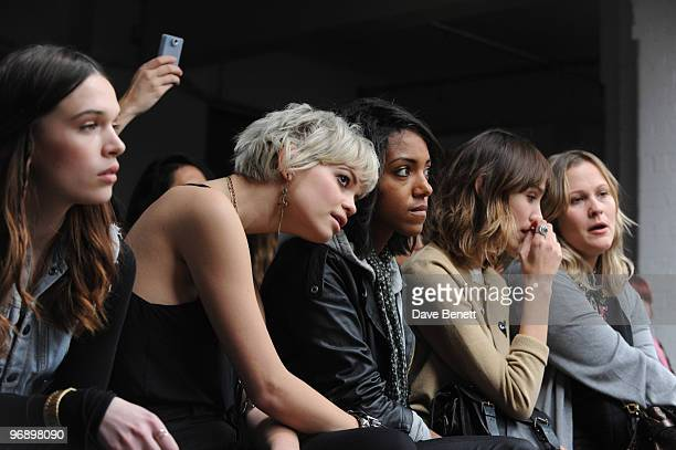 Pixie Geldof Remi Nicole and Alexa Chung in the front row at the Topshop Unique show in Covent Garden on February 20 2010 in London England