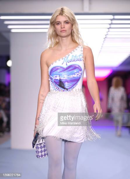 Pixie Geldof walks the runway at the Ashley Williams Show during London Fashion Week February 2020 at the BFC Courtyard Showspace on February 14,...