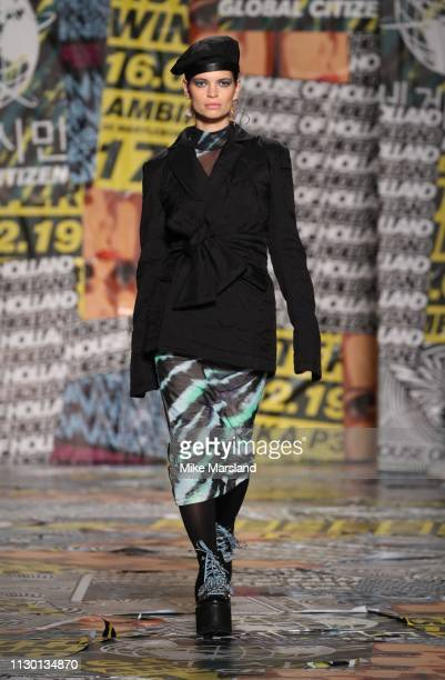 Pixie Geldof walks the runway at the House of Holland show during London Fashion Week February 2019 at the University of Westminster on February 16...