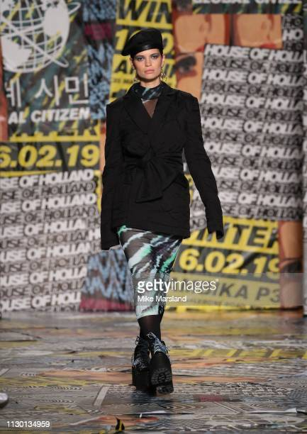 Pixie Geldof walks the runway at the House of Holland show during London Fashion Week February 2019 at the University of Westminster on February 16,...
