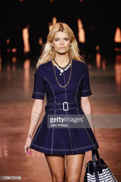 Pixie Geldof walks the runway at TOMMYNOW London Spring 2020 at Tate Modern on February 16, 2020 in London, England.