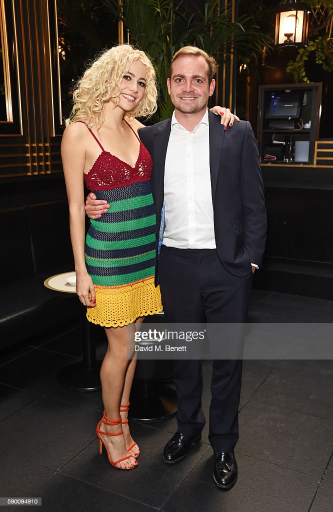 Pixie Lott (L) and brother Stephen Lott poses at the launch of her limited edition track 'A Real Good Thing' with Select Model Management at Tramp on August 16, 2016 in London, England.