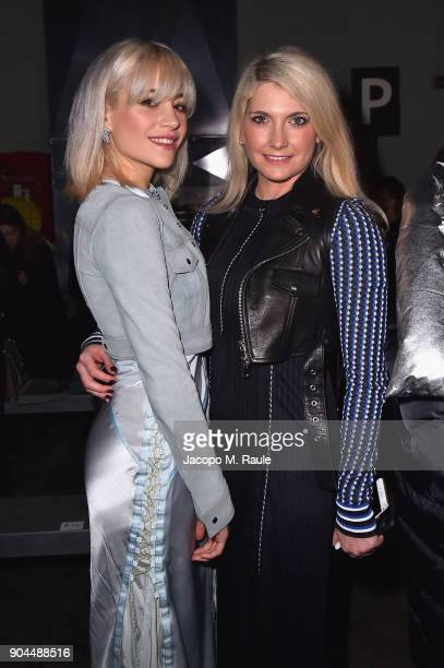 Pixie Lott and CharlieAnn Lott attend the Diesel Black Gold show during Milan Men's Fashion Week Fall/Winter 2018/19 on January 13 2018 in Milan Italy