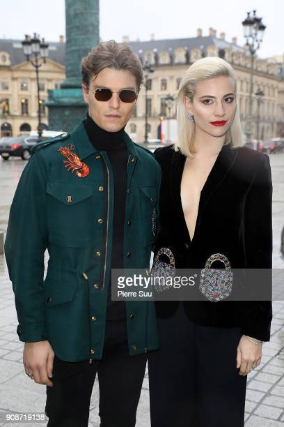 Pixie Lott and her fiance Oliver Cheshire attend the Schiaparelli Haute Couture Spring Summer 2018 show as part of Paris Fashion Week on January 22...