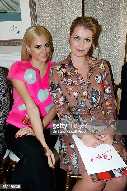 Pixie Lott and Lady Kitty Spencer attend the Schiaparelli Haute Couture Spring Summer 2017 show as part of Paris Fashion Week on January 23 2017 in...