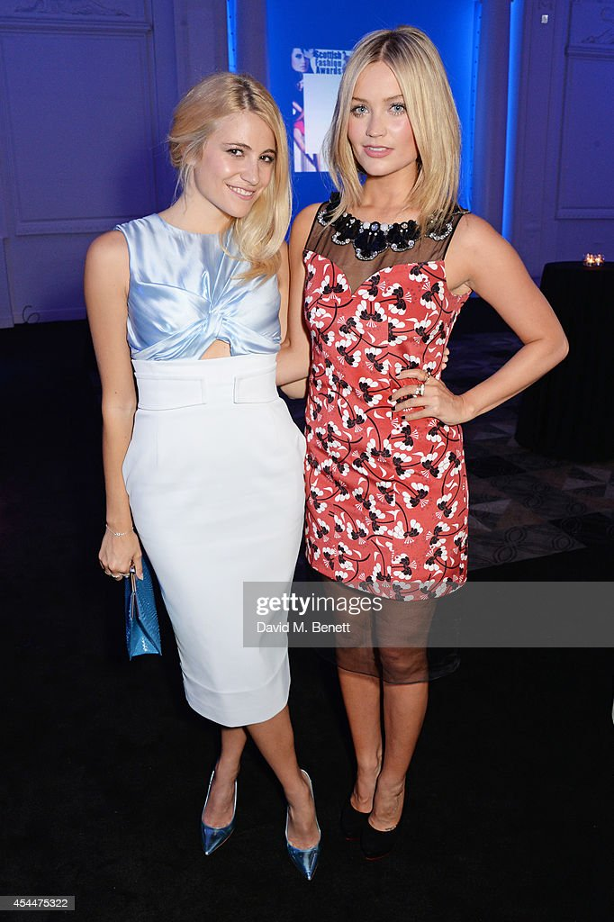 Pixie Lott (L) and Laura Whitmore arrive at the Scottish fashion invasion of London at the 9th annual Scottish Fashion Awards at 8 Northumberland Avenue on September 1, 2014 in London, England.