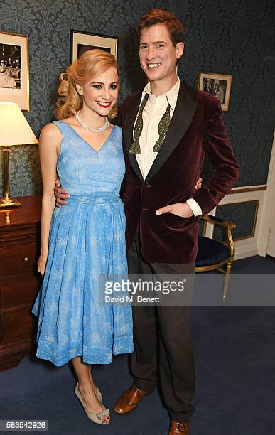 Pixie Lott and Matt Barber pose backstage following the press night performance of 'Breakfast at Tiffany's' at the Theatre Royal Haymarket on July 26...