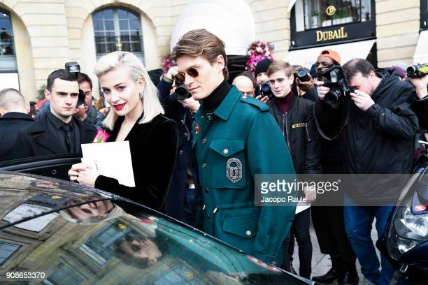 Pixie Lott and Oliver Cheshire are seen arriving at Schiaparelli Fashion show during Paris Fashion Week Haute Couture Spring/Summer 2018 on January...