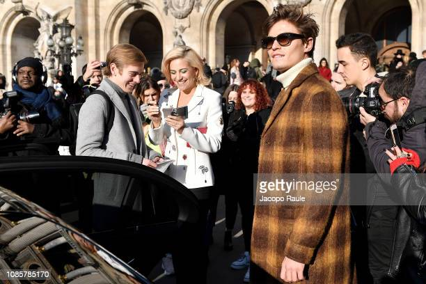 Pixie Lott and Oliver Cheshire are seen arriving at Schiaparelli show on January 21 2019 in Paris France