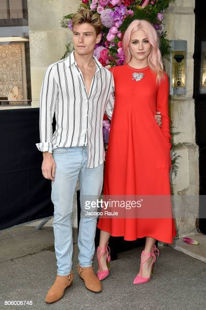 Pixie Lott and Oliver Cheshire are seen arriving at the 'Schiaparelli' show during Paris Fashion Week - Haute Couture Fall/Winter 2017-2018 on July...