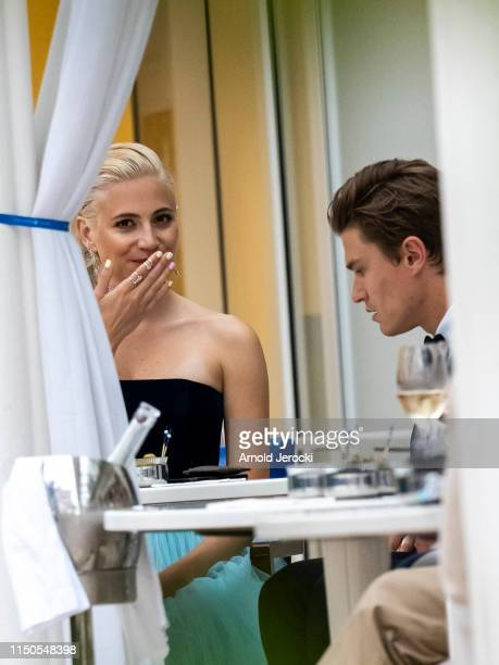 Pixie Lott and Oliver Cheshire are seen at the Martinez hotel during the 72nd annual Cannes Film Festival on May 20 2019 in Cannes France