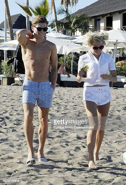 Pixie Lott and Oliver Cheshire are seen on July 21 2014 in Marbella Spain