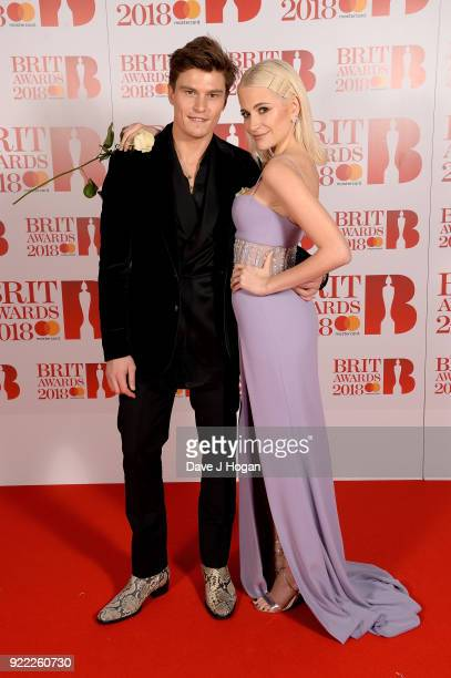 AWARDS 2018 *** Pixie Lott and Oliver Cheshire attend The BRIT Awards 2018 held at The O2 Arena on February 21 2018 in London England