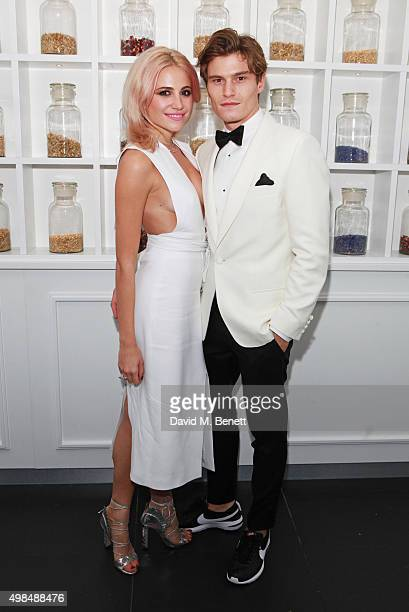 Pixie Lott and Oliver Cheshire attend the British Fashion Awards official afterparty hosted by St Martins Lane and sponsored by Ciroc Vodka at St...