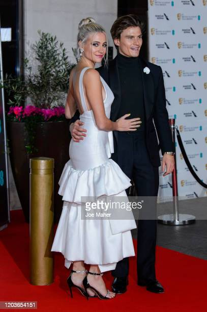 Pixie Lott and Oliver Cheshire attend the EE British Academy Film Awards 2020 After Party at The Grosvenor House Hotel on February 02, 2020 in...