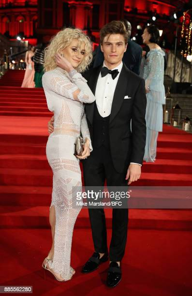 Pixie Lott and Oliver Cheshire attend The Fashion Awards 2017 in partnership with Swarovski at Royal Albert Hall on December 4 2017 in London England