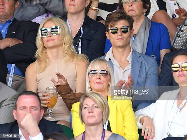 Pixie Lott and Oliver Cheshire attend the Men's Final of the Wimbledon Tennis Championships between Milos Raonic and Andy Murray at Wimbledon on July...