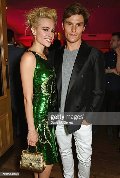Pixie Lott and Oliver Cheshire attend the press night after party for 'Breakfast at Tiffany's' at the The Haymarket Hotel on July 26 2016 in London...