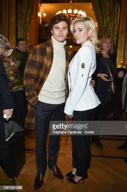 Pixie Lott and Oliver Cheshire attend the Schiaparelli Haute Couture Spring Summer 2019 show as part of Paris Fashion Week on January 21 2019 in...