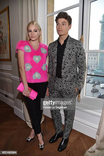 Pixie Lott and Oliver Cheshire attend the Schiaparelli Haute Couture Spring Summer 2017 show as part of Paris Fashion Week on January 23 2017 in...