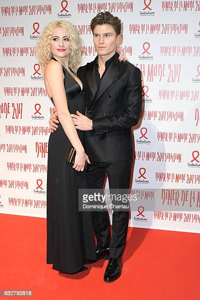 Pixie Lott and Oliver Cheshire attend the Sidaction Gala Dinner 2017 as part of Paris Fashion Week on January 26 2017 in Paris France