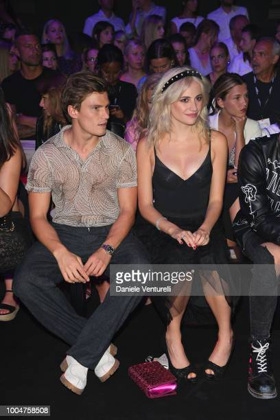 Pixie Lott and Oliver Cheshire attend the Tezenis show on July 24 2018 in Verona Italy