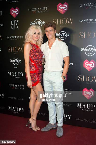 Pixie Lott and Oliver Cheshire attends the Global Gift Gala party at STK Ibiza on July 21 2017 in Ibiza Spain