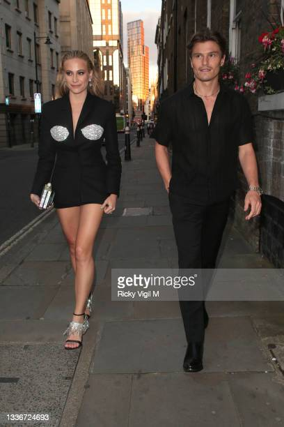 Pixie Lott and Oliver Cheshire seen attending the British LGBT Awards 2021 at The Brewery on August 27, 2021 in London, England.